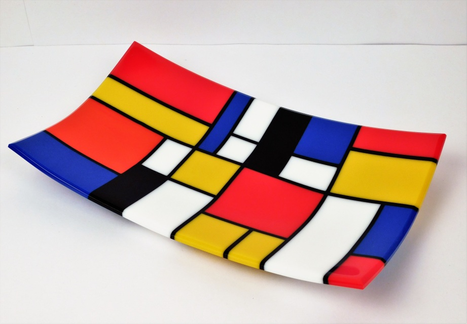 A Rectangular Decorative Fused Glass Plate Mondrianian